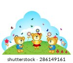 bears brothers are playing jump ... | Shutterstock .eps vector #286149161