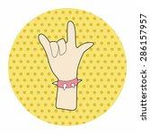 rock music hand gesture theme... | Shutterstock .eps vector #286157957