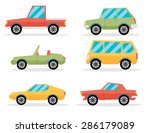 set of cartoon cars. flat... | Shutterstock .eps vector #286179089