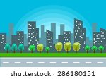 vector park with city tall... | Shutterstock .eps vector #286180151
