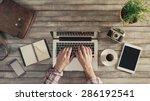 hipster vintage wooden desktop... | Shutterstock . vector #286192541