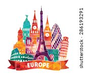 europe detailed silhouette.... | Shutterstock .eps vector #286193291