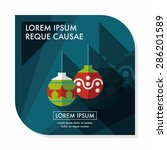 christmas ball flat icon with... | Shutterstock .eps vector #286201589