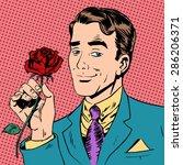 man flower dating love meeting... | Shutterstock .eps vector #286206371