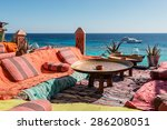 lounge and relax area on the... | Shutterstock . vector #286208051