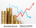 pile of coins and graph. asset... | Shutterstock . vector #286221095