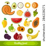 set of various fruits. vector...   Shutterstock .eps vector #286228271