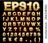 vector set of metallic letters... | Shutterstock .eps vector #286248581