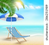 beach with palm clouds sun... | Shutterstock . vector #286251989