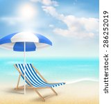 beach with sun beach umbrella... | Shutterstock . vector #286252019