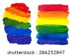 two gouache rainbow spots... | Shutterstock .eps vector #286252847