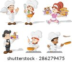 Cartoon Chefs Cooking  Waitres...