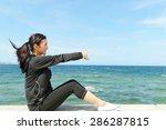women who exercises beside the... | Shutterstock . vector #286287815