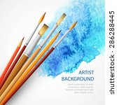 realistic brush on blue... | Shutterstock .eps vector #286288445