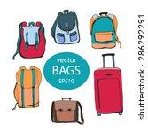 set of vector sketchy bags.... | Shutterstock .eps vector #286292291