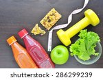 fitness equipment and healthy... | Shutterstock . vector #286299239