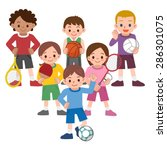 children to a variety of sports | Shutterstock .eps vector #286301075