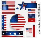 collection of american flags ... | Shutterstock .eps vector #286308944