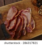 cooked back bacon with...   Shutterstock . vector #286317821