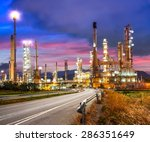 road to the oil refiner on blue ... | Shutterstock . vector #286351649