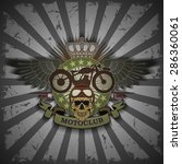 stamp moto club with a skull...   Shutterstock .eps vector #286360061