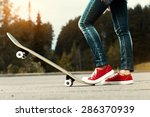 lady with red shoes standing on ... | Shutterstock . vector #286370939