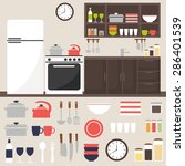 kitchen room isolated elements. ... | Shutterstock .eps vector #286401539