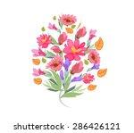 watercolor bouquet of flowers | Shutterstock .eps vector #286426121