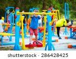 cute kid  boy exercising on... | Shutterstock . vector #286428425