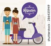 hipster design over landscape... | Shutterstock .eps vector #286435949