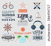 retro elements for summer... | Shutterstock .eps vector #286454717