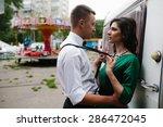 man and woman is hidden from... | Shutterstock . vector #286472045