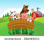 collection of happy farm... | Shutterstock .eps vector #286485011