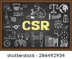 doodles about csr on chalkboard. | Shutterstock .eps vector #286492934