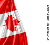 canada flag of silk and white... | Shutterstock . vector #286503005