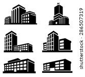 buildings icons vector | Shutterstock .eps vector #286507319