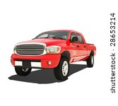 red pickup isolated | Shutterstock . vector #28653214