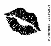 print of black lips. vector... | Shutterstock .eps vector #286542605