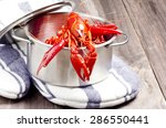 Boiled Crayfish In Steel Pot O...