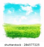 watercolor sky and grass... | Shutterstock . vector #286577225