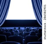 viewers watch motion picture at ... | Shutterstock . vector #286582901