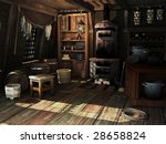 kitchen on to ship in 18 century | Shutterstock . vector #28658824