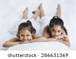 portrait of cute little sisters ... | Shutterstock . vector #286631369