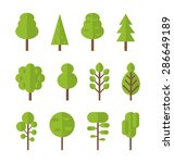 collection set flat icons tree  ... | Shutterstock . vector #286649189