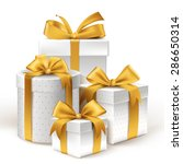 realistic 3d white gifts with... | Shutterstock .eps vector #286650314