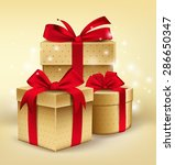 realistic 3d golden gifts with... | Shutterstock .eps vector #286650347