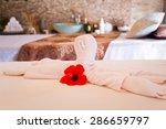 towel decoration on massage...   Shutterstock . vector #286659797