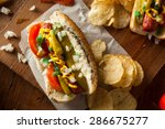 homemade chicago style hot dog... | Shutterstock . vector #286675277
