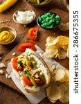 homemade chicago style hot dog... | Shutterstock . vector #286675355