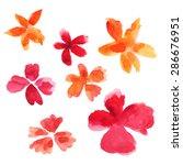 set of watercolor flower drops... | Shutterstock .eps vector #286676951